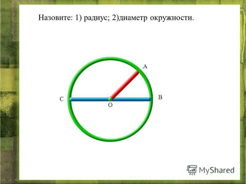 Назовите: 1) радиус; 2)диаметр окружности. А С В О