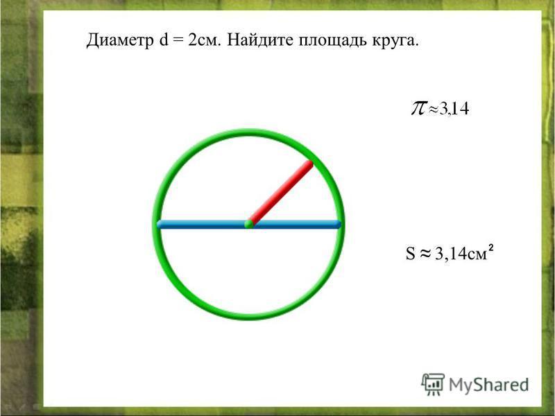 Диаметр d = 2 см. Найдите площадь круга. S 3,14 см 2