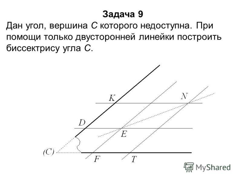 Задача 9 Дан угол, вершина С которого недоступна. При помощи только двусторонней линейки построить биссектрису угла С.
