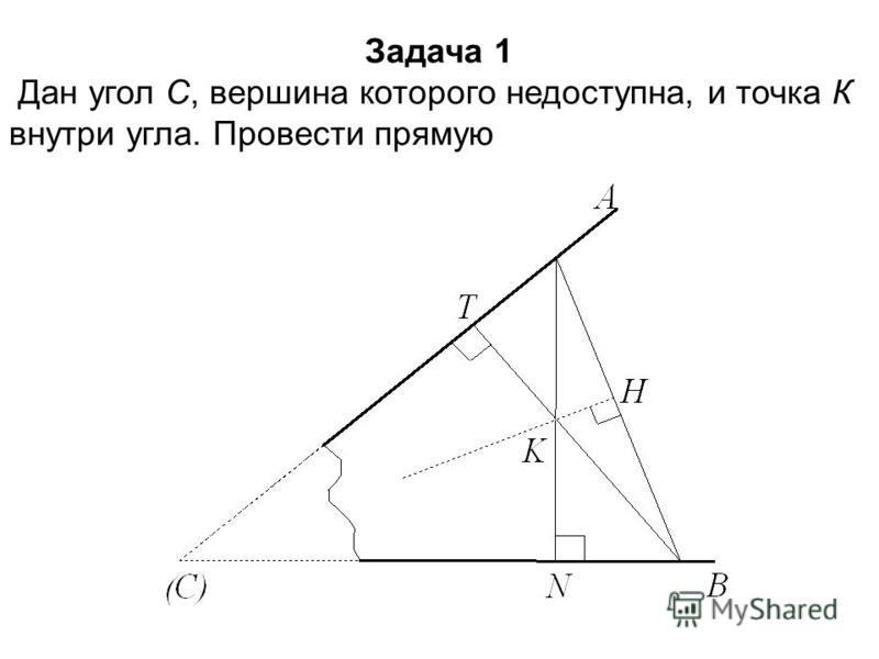 Задача 1 Дан угол С, вершина которого недоступна, и точка К внутри угла. Провести прямую КС.