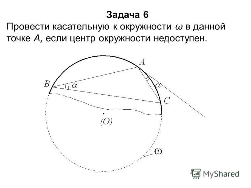 Задача 6 Провести касательную к окружности ω в данной точке А, если центр окружности недоступен.