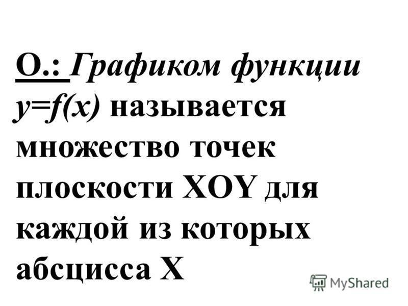 О.: Графиком функции y=f(x) называется множество точек плоскосты XOY для каждой из которых абсцисса X