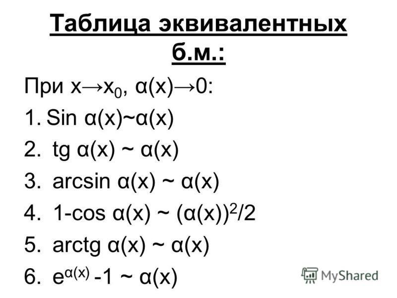 Таблица эквивалентных б.м.: При х 0, α(х)0: 1. Sin α(x)~α(x) 2. tg α(x) ~ α(x) 3. arcsin α(x) ~ α(x) 4. 1-cos α(x) ~ (α(x)) 2 /2 5. arctg α(x) ~ α(x) 6. e α(x) -1 ~ α(x)