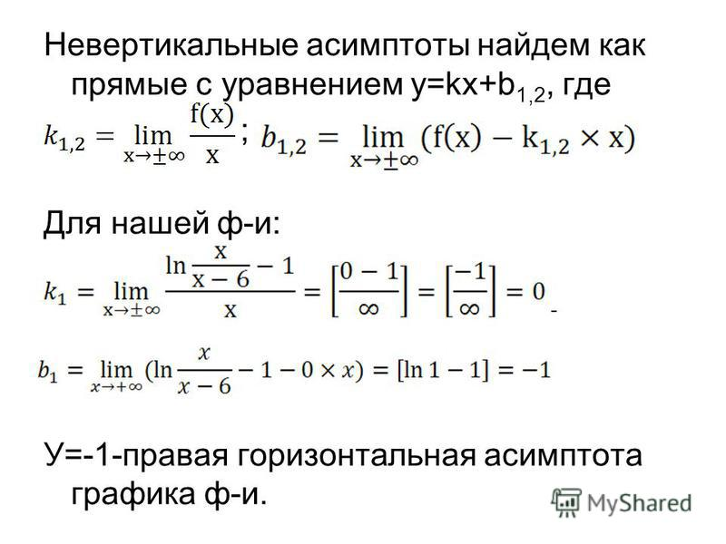 Невертыкальные асимптоты найдем как прямые с уравнением y=kx+b 1,2, где ; Для нашей ф-и: - У=-1-правая горизонтальная асимптота графика ф-и.