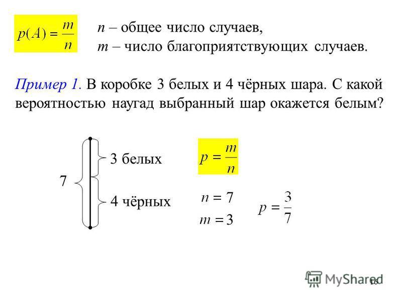 16 n – общее число случаев, m – число благоприятствующих случаев. Пример 1. В коробке 3 белых и 4 чёрных шара. С какой вероятностью наугад выбранный шар окажется белым? 7 3 белых 4 чёрных 7 3