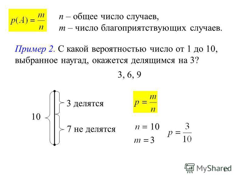 17 n – общее число случаев, m – число благоприятствующих случаев. Пример 2. С какой вероятностью число от 1 до 10, выбранное наугад, окажется делящимся на 3? 10 3 делятся 7 не делятся 10 3 3, 6, 9