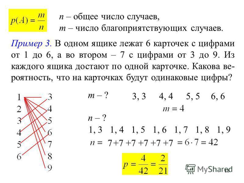 18 n – общее число случаев, m – число благоприятствующих случаев. Пример 3. В одном ящике лежат 6 карточек с цифрами от 1 до 6, а во втором – 7 с цифрами от 3 до 9. Из каждого ящика достают по одной карточке. Какова вероятность, что на карточках буду