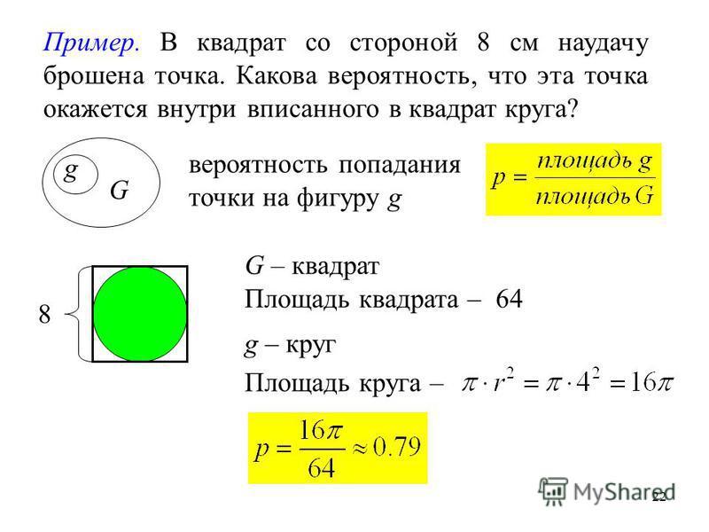 22 g G Пример. В квадрат со стороной 8 см наудачу брошена точка. Какова вероятность, что эта точка окажется внутри вписанного в квадрат круга? вероятность попадания точки на фигуру g Площадь квадрата –64 Площадь круга – G – квадрат g – круг 8