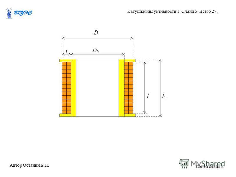 D0D0 D t ll1l1 Автор Останин Б.П. Катушки индуктивности 1. Слайд 5. Всего 27. Конец слайда