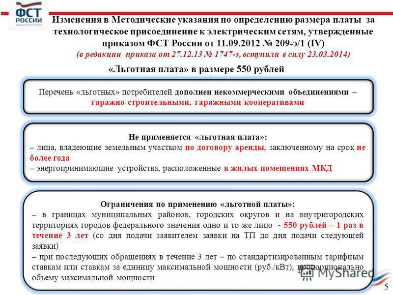 «Льготная плата» в размере 550 рублей Перечень «льготных» потребителей дополнен некоммерческими объединениями – гаражно-строительными, гаражными кооперативами Не применяется «льготная плата»: – лица, владеющие земельным участком по договору аренды, з