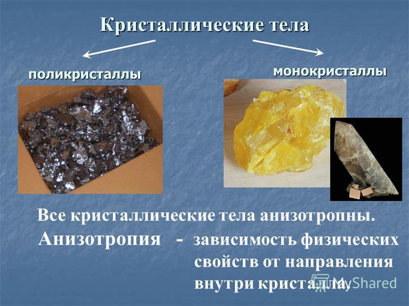Кристаллические тела Все кристаллические тела анизотропны. Анизотропия - зависимость физических свойств от направления внутри кристалла. поликристаллы монокристаллы