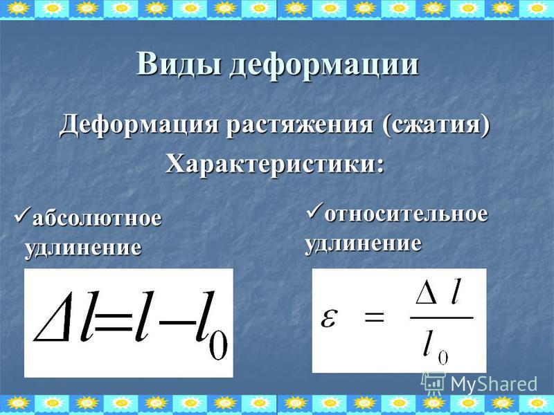 Виды деформации Деформация растяжения (сжатия) Характеристики: относительное удлинение относительное удлинение абсолютное абсолютное удлинение удлинение