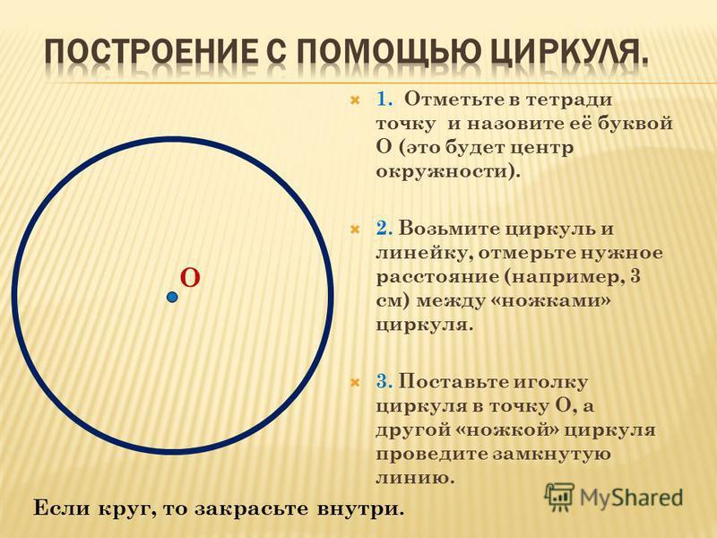 1. Отметьте в тетради точку и назовите её буквой О (это будет центр окружности). 2. Возьмите циркуль и линейку, отмерьте нужное расстояние (например, 3 см) между «ножками» циркуля. 3. Поставьте иголку циркуля в точку О, а другой «ножкой» циркуля пров