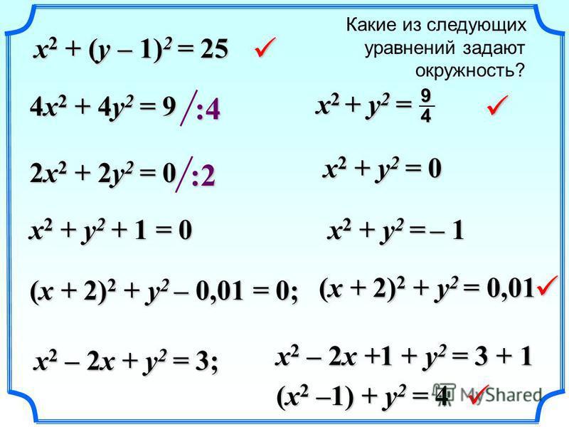 Какие из следующих уравнений задают окружность? x 2 + (y – 1) 2 = 25 4x 2 + 4y 2 = 9 2x 2 + 2y 2 = 0 x 2 + y 2 + 1 = 0 (x + 2) 2 + y 2 – 0,01 = 0; x 2 – 2x + y 2 = 3; :4 x 2 + y 2 = 49 :2 x 2 + y 2 = 0 x 2 + y 2 = – 1 (x + 2) 2 + y 2 = 0,01 x 2 – 2x