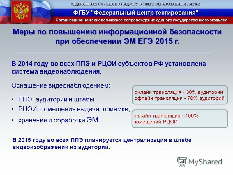 В 2014 году во всех ППЭ и РЦОИ субъектов РФ установлена система видеонаблюдения. Оснащение видеонаблюдением: ППЭ: аудитории и штабы РЦОИ: помещения выдачи, приёмки, хранения и обработки ЭМ онлайн трансляция - 30% аудиторий офлайн трансляция - 70% ауд