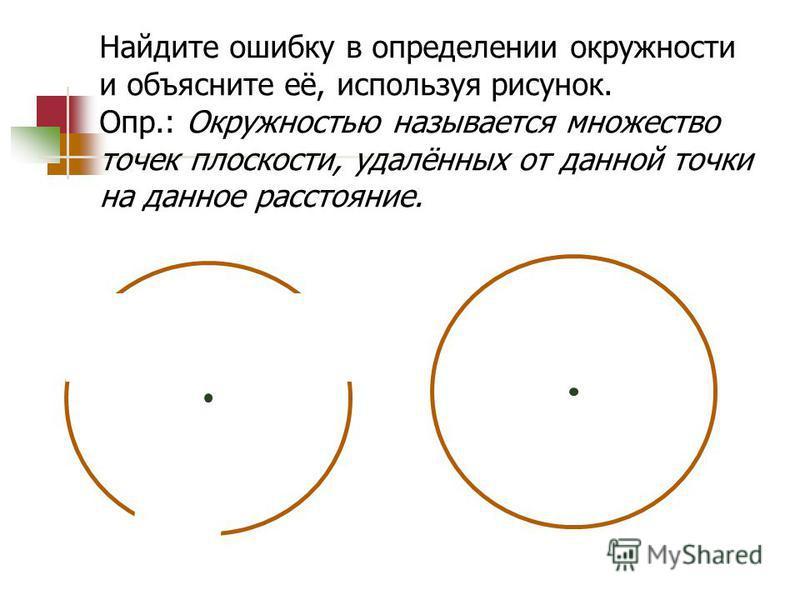 Найдите ошибку в определении окружности и объясните её, используя рисунок. Опр.: Окружностью называется множество точек плоскости, удалённых от данной точки на данное расстояние.