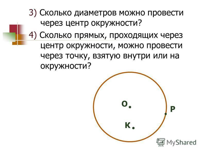 3) Сколько диаметров можно провести через центр окружности? 4) Сколько прямых, проходящих через центр окружности, можно провести через точку, взятую внутри или на окружности? К О Р