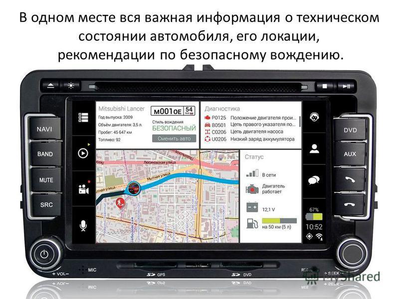 В одном месте вся важная информация о техническом состоянии автомобиля, его локации, рекомендации по безопасному вождению.