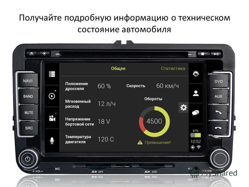 Получайте подробную информацию о техническом состояние автомобиля
