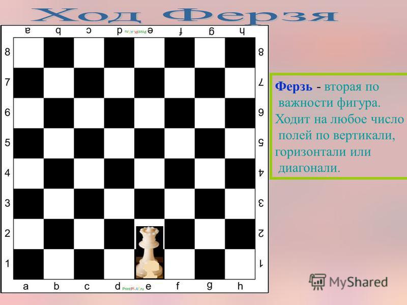 Ферзь - вторая по важности фигура. Ходит на любое число полей по вертикали, горизонтали или диагонали.
