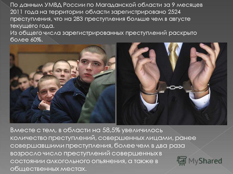 По данным УМВД России по Магаданской области за 9 месяцев 2011 года на территории области зарегистрировано 2524 преступления, что на 283 преступления больше чем в августе текущего года. Из общего числа зарегистрированных преступлений раскрыто более 6