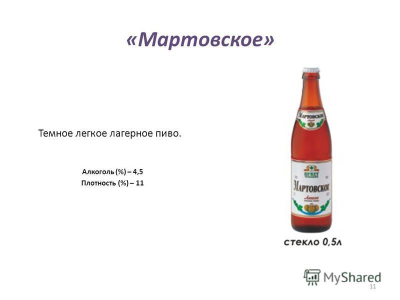 «Мартовское» Темное легкое лагерное пиво. Алкоголь (%) – 4,5 Плотность (%) – 11 11