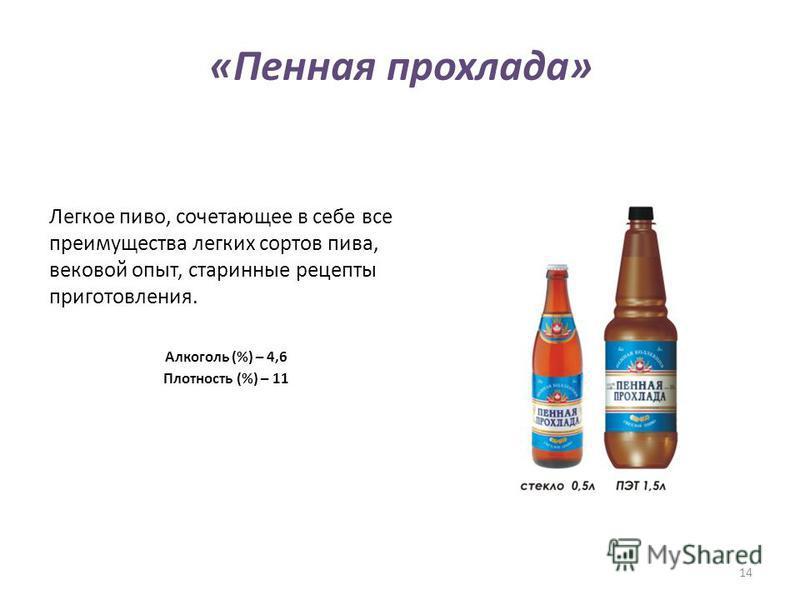«Пенная прохлада» Легкое пиво, сочетающее в себе все преимущества легких сортов пива, вековой опыт, старинные рецепты приготовления. Алкоголь (%) – 4,6 Плотность (%) – 11 14