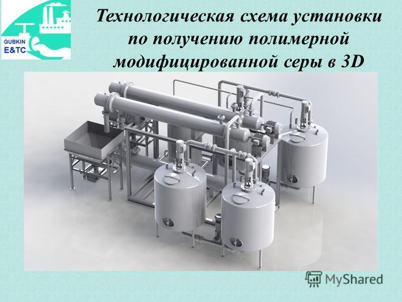 Технологическая схема установки по получению полимерной модифицированной серы в 3D