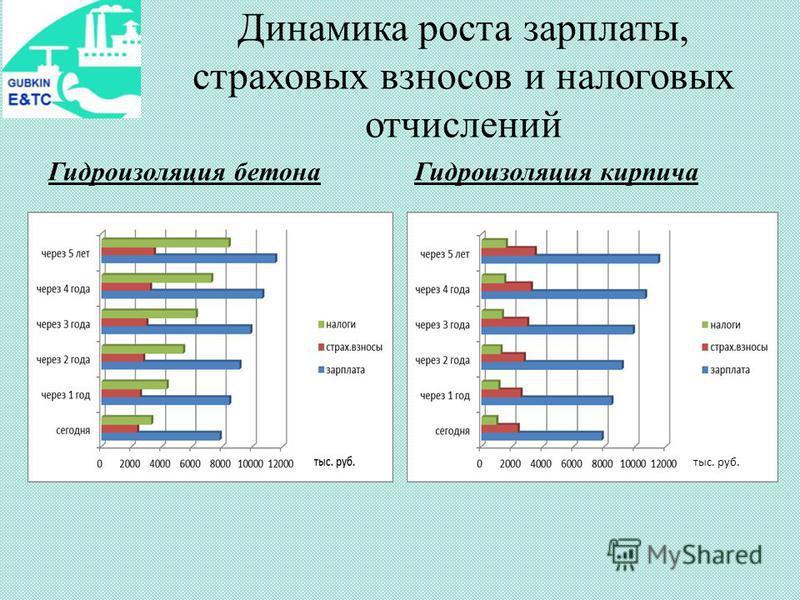Динамика роста зарплаты, страховых взносов и налоговых отчислений тыс. руб. Гидроизоляция бетона Гидроизоляция кирпича