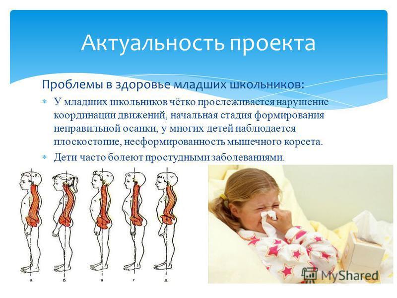Проблемы в здоровье младших школьников: У младших школьников чётко прослеживается нарушение координации движений, начальная стадия формирования неправильной осанки, у многих детей наблюдается плоскостопие, несформированность мышечного корсета. Дети ч