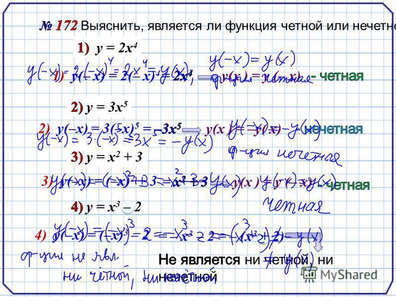1) у(– х) = 2(– х) 4 у(х ) = у (– х) 2) у(–х) = 3(–х) 5 у(х ) = –у( х) 3) у(–х) = (–х) 2 + 3 у(х ) = у (– х) 4) у(–х) = (–х) 3 – 2 = – х 3 – 2 = – (х 3 + 2)
