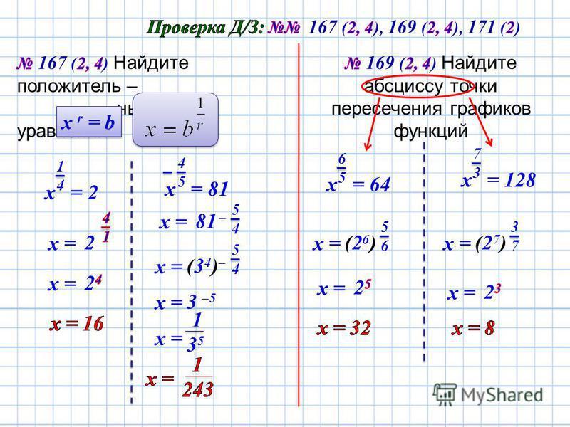 х r = b х = 2 1414 2 х = х = 81 81 – х = 1 3 5 4545 х = 5454 (34)–(34)– 5454 3 –5 х = х = 64 6565 х = (26)(26) 5656 х = 128 7373 х = (27)(27) 3737