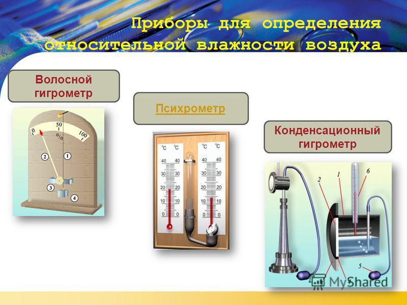 LOGO Приборы для определения относительной влажности воздуха Волосной гигрометр Психрометр Конденсационный гигрометр