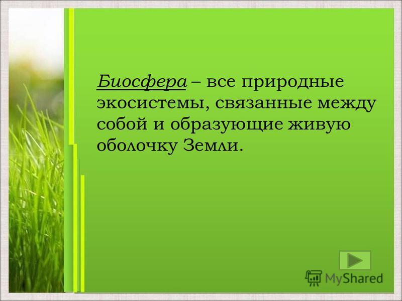 Биосфера – все природные экосистемы, связанные между собой и образующие живую оболочку Земли.