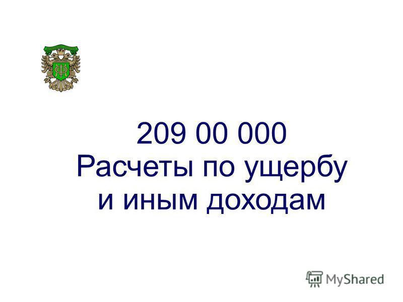 209 00 000 Расчеты по ущербу и иным доходам
