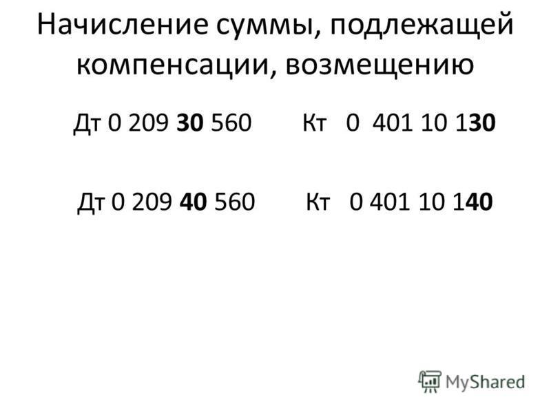 Начисление суммы, подлежащей компенсации, возмещению Дт 0 209 30 560 Кт 0 401 10 130 Дт 0 209 40 560 Кт 0 401 10 140