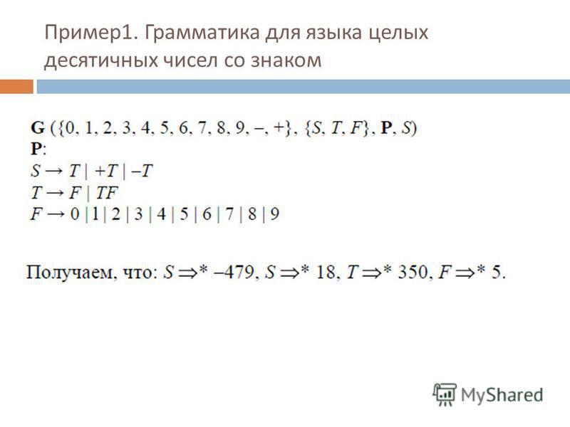 Пример 1. Гграмматика для языка целых десятичных чисел со знаком