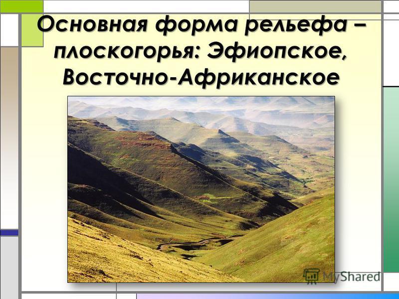 Основная форма рельефа – плоскогорья: Эфиопское, Восточно-Африканское
