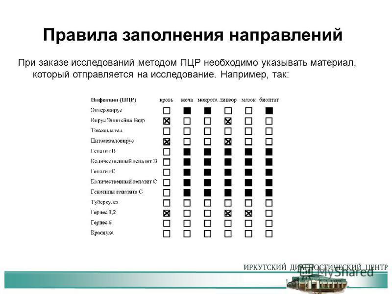 Правила заполнения направлений При заказе исследований методом ПЦР необходимо указывать материал, который отправляется на исследование. Например, так: