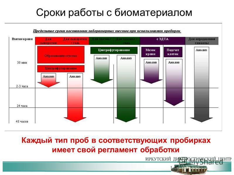 Каждый тип проб в соответствующих пробирках имеет свой регламент обработки Сроки работы с биоматериалом