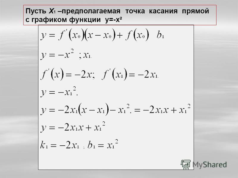Пусть Х 1 –предполагаемая точка касания прямой с графиком функции y=-x²