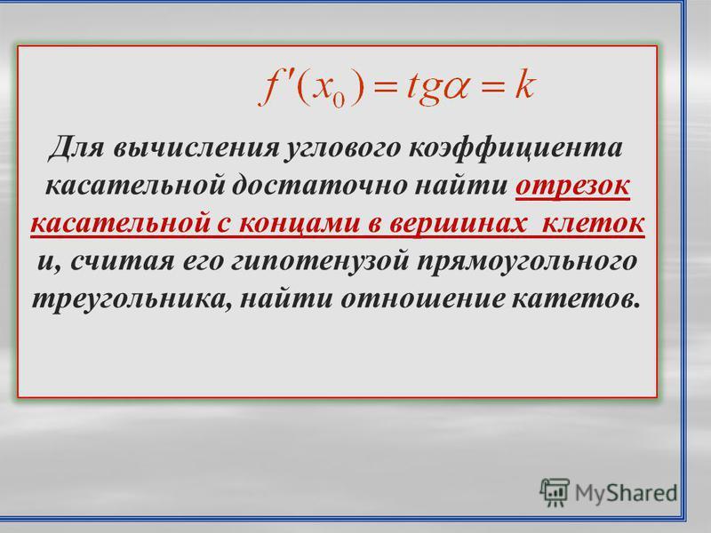 Для вычисления углового коэффициента касательной достаточно найти отрезок касательной с концами в вершинах клеток и, считая его гипотенузой прямоугольного треугольника, найти отношение катетов.