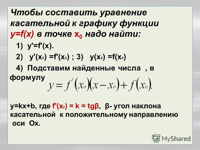 1) у'=f'(x). 1) у'=f'(x). 2) у'(x 0 ) =f'(x 0 ) ; 3) у(x 0 ) =f(x 0 ) 2) у'(x 0 ) =f'(x 0 ) ; 3) у(x 0 ) =f(x 0 ) 4) Подставим найденные числа, в формулу 4) Подставим найденные числа, в формулу Чтобы составить уравнение касательной к графику функции