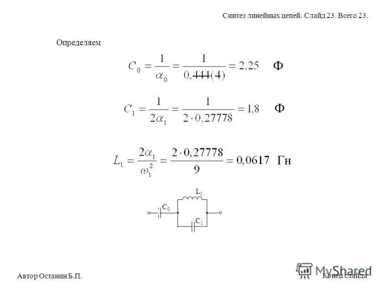 Определяем C0C0 L1L1 C1C1 Ф Ф Гн Автор Останин Б.П. Синтез линейных цепей. Слайд 23. Всего 23. Конец слайда
