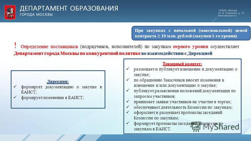 Определение поставщиков Департамент города Москвы по конкурентной политике во взаимодействии с Дирекцией ! Определение поставщиков (подрядчиков, исполнителей) по закупкам первого уровня осуществляет Департамент города Москвы по конкурентной политике