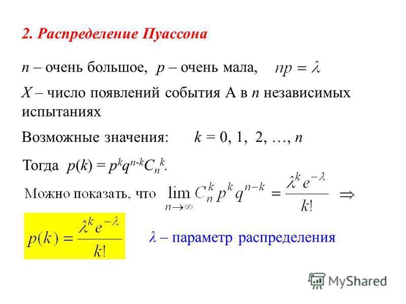 2. Распределение Пуассона n – очень большое, p – очень мала, Возможные значения:k = 0, 1, 2, …, n Х – число появлений события А в n независимых испытаниях λ – параметр распределения Тогда p(k) = p k q n-k C n k.