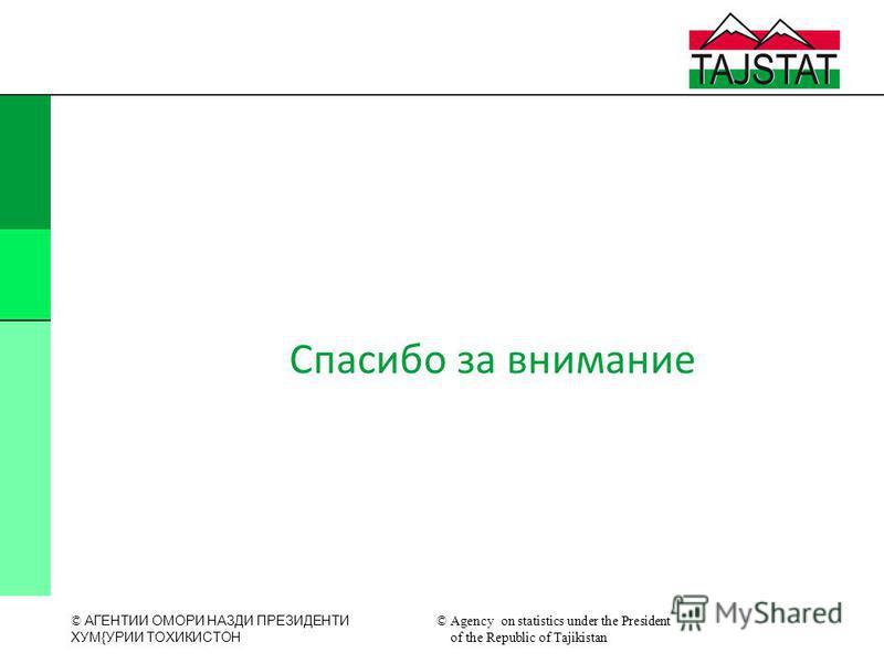 © АГЕНТИИ ОМОРИ НАЗДИ ПРЕЗИДЕНТИ XУМ{УРИИ ТОXИКИСТОН © Agency on statistics under the President of the Republic of Tajikistan Спасибо за внимание
