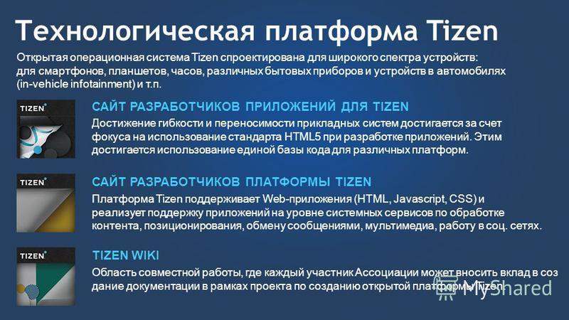 Технологическая платформа Tizen Открытая операционная система Tizen спроектирована для широкого спектра устройств: для смартфонов, планшетов, часов, различных бытовых приборов и устройств в автомобилях (in-vehicle infotainment) и т.п. САЙТ РАЗРАБОТЧИ