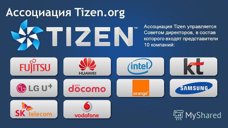 Ассоциация Tizen.org Ассоциация Tizen управляется Советом директоров, в состав которого входят представители 10 компаний: