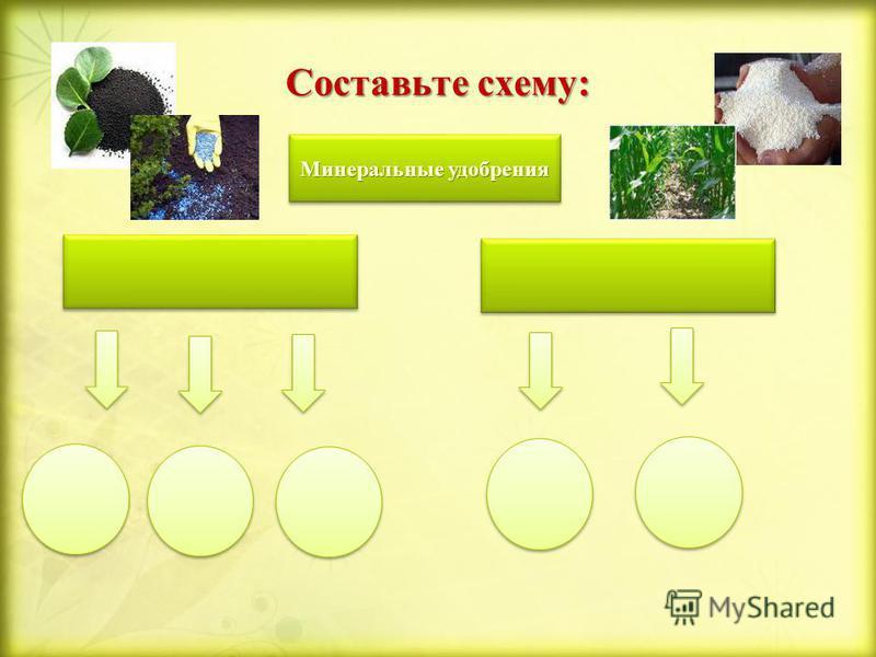 Составьте схему: Минеральные удобрения